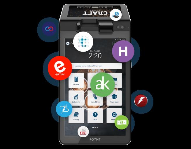Poynt terminal and various App Center apps