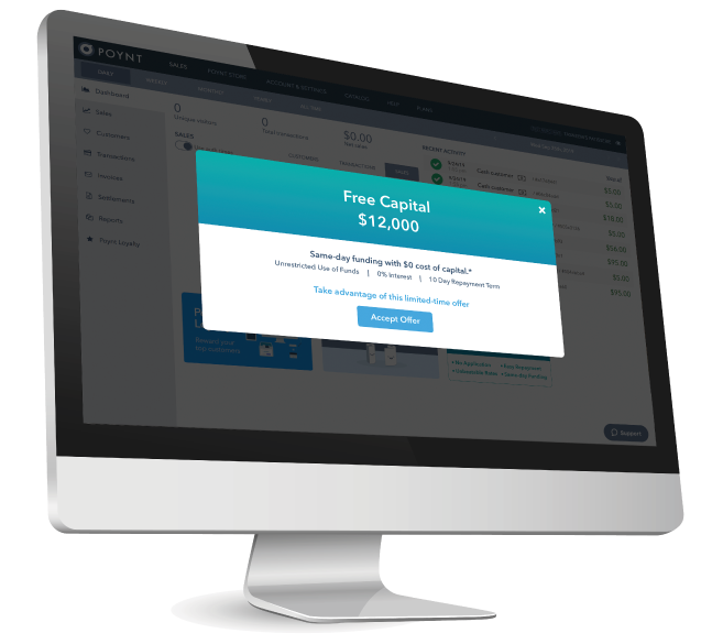 Screenshot of Poynt Capital popup on a computer